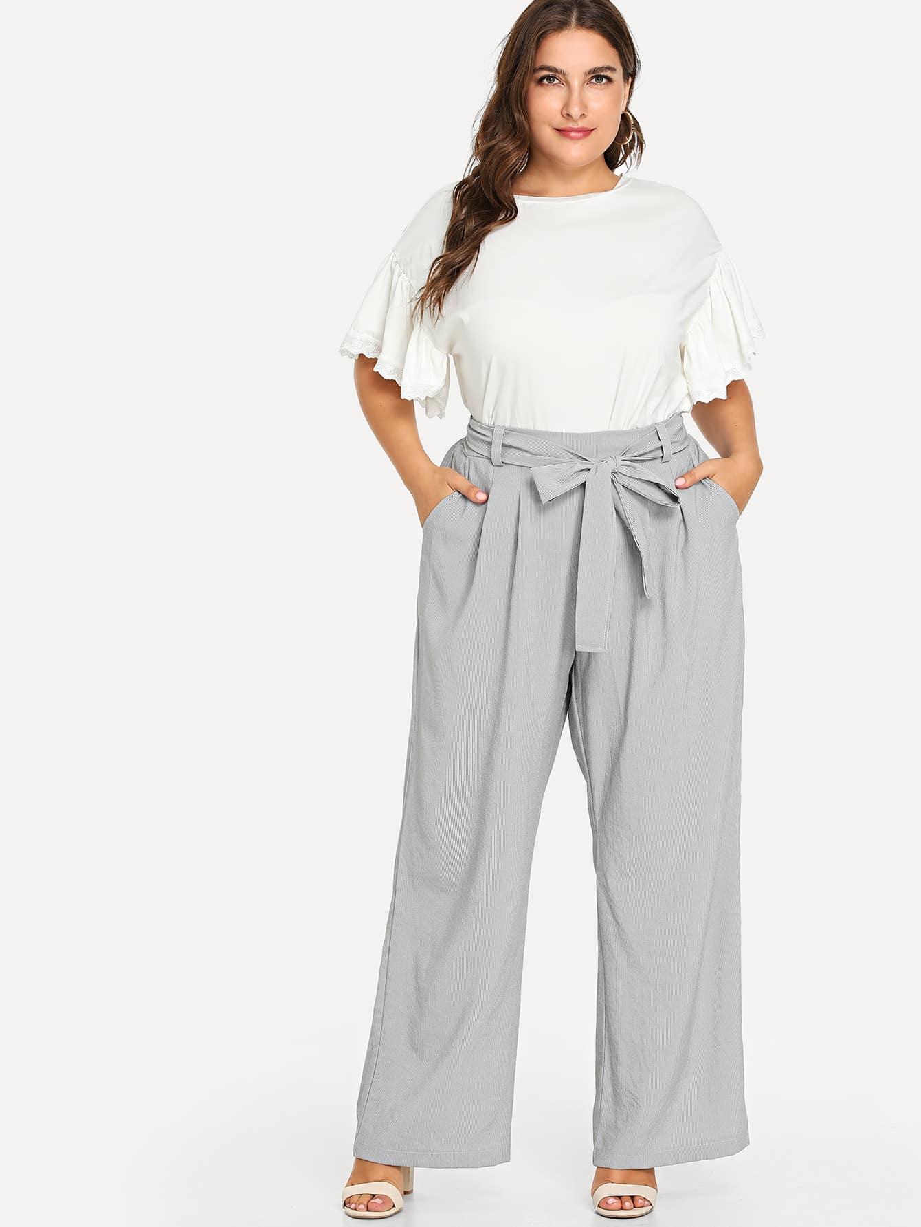 Купить Большие полосатые широкие ножные штаны, Franziska, SheIn