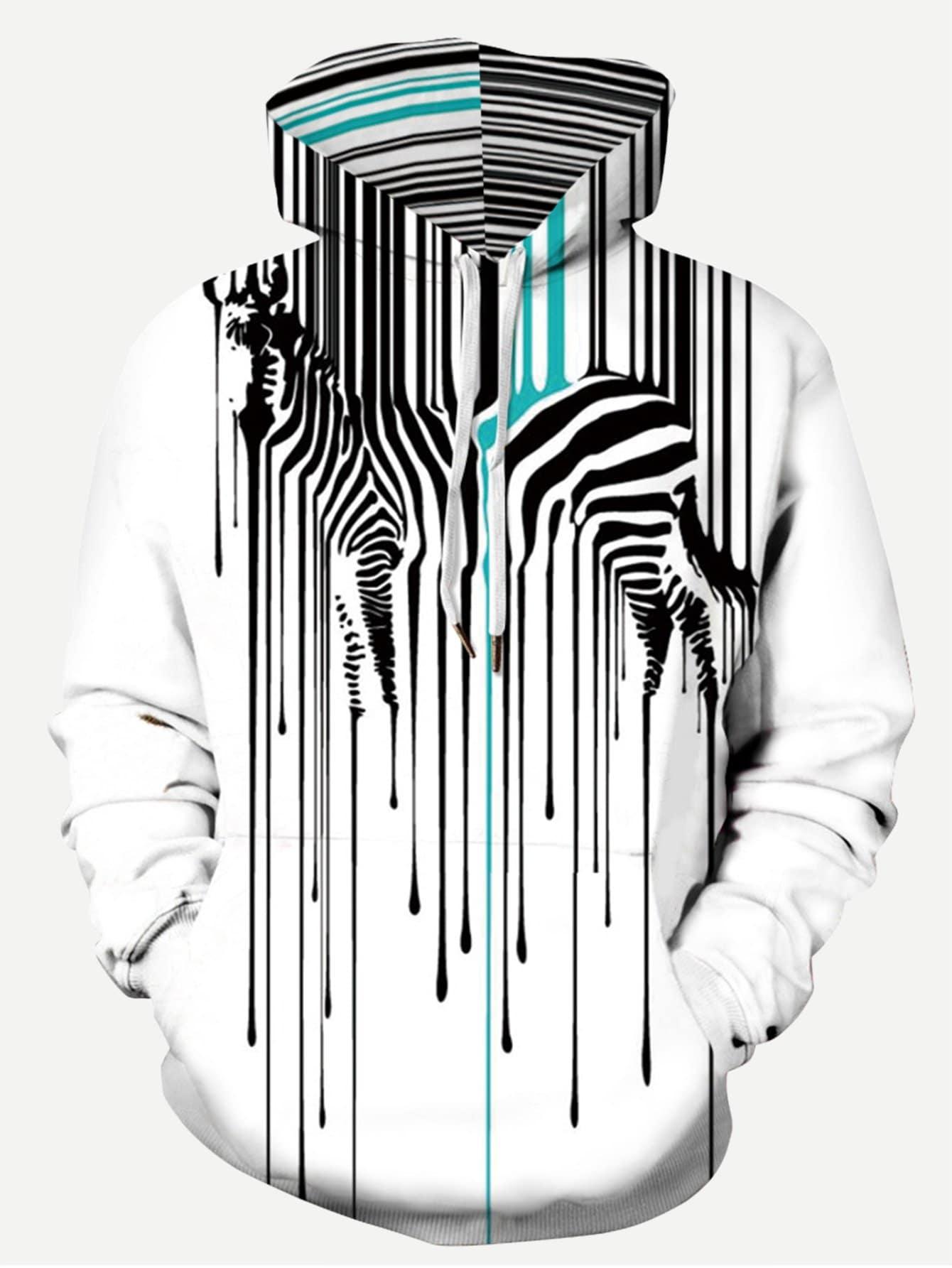 Men Abstract Zebra Print Hooded Sweatshirt