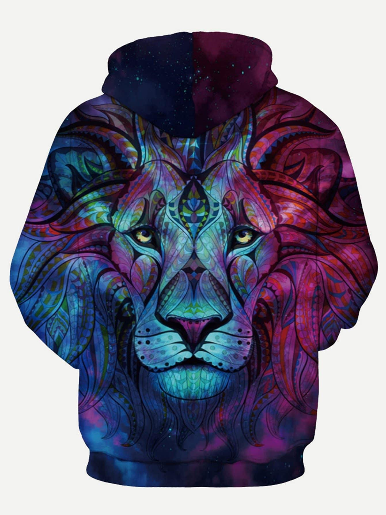 Männer Sweatshirt mit 3D Tier Muster