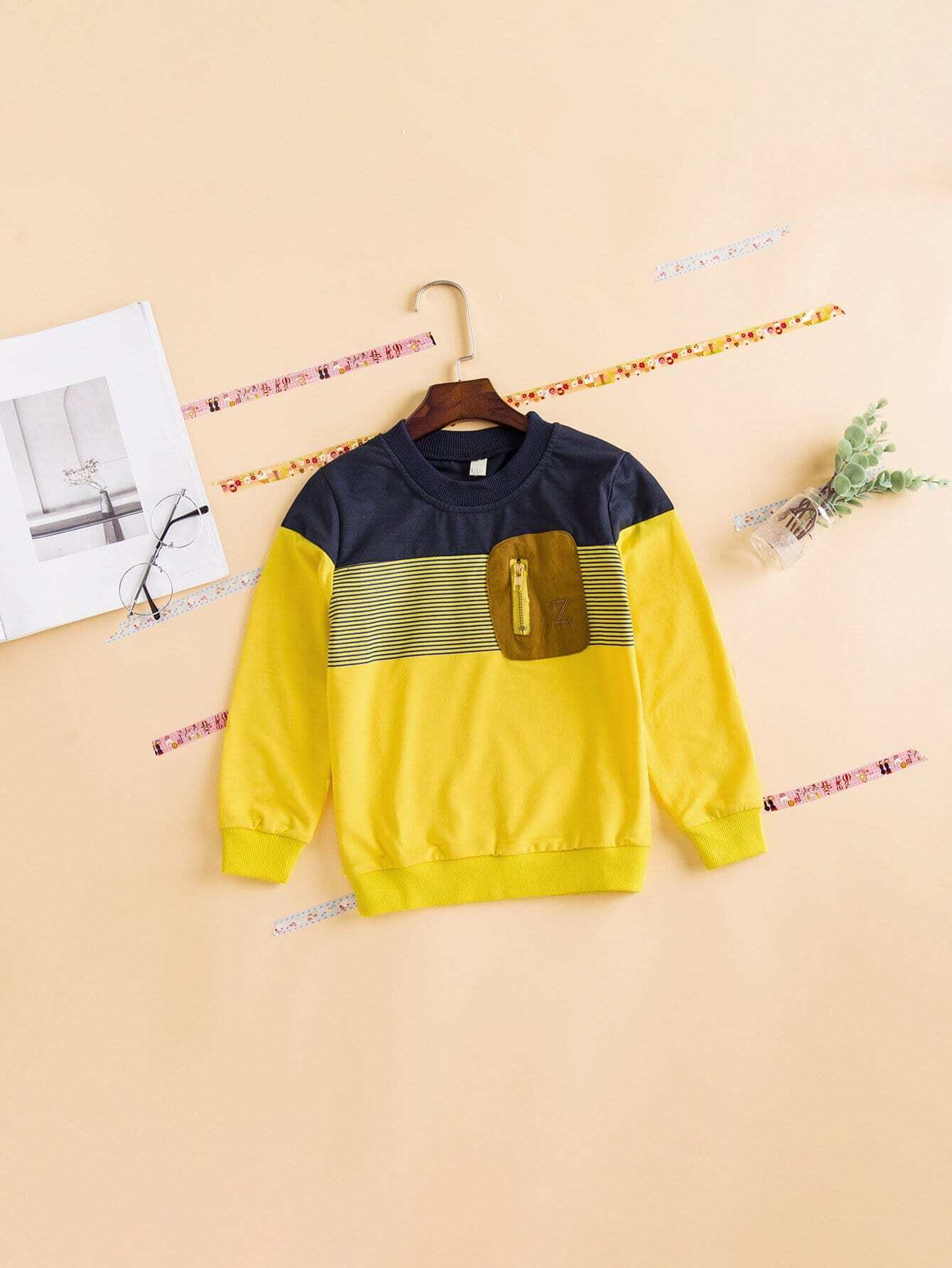 Boys Zip Decoration Cut And Sew Panel Sweatshirt