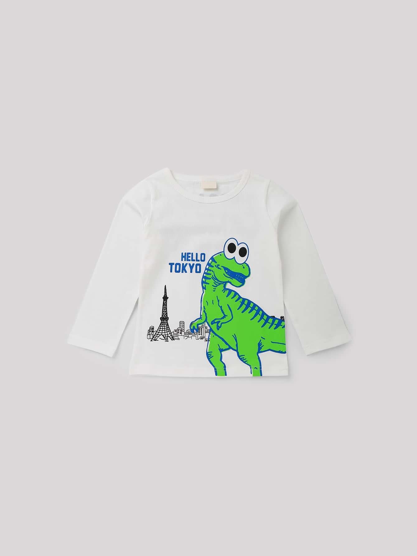 Boys Dinosaur And Letter Print Tee