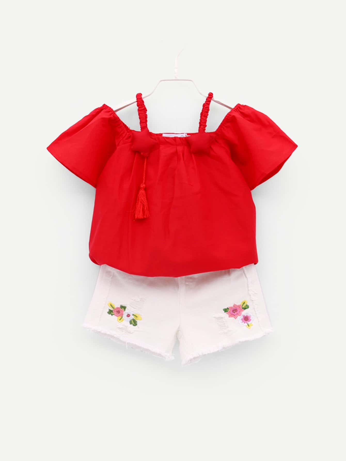Girls Solid Top With Raw Hem Embroidered Shorts