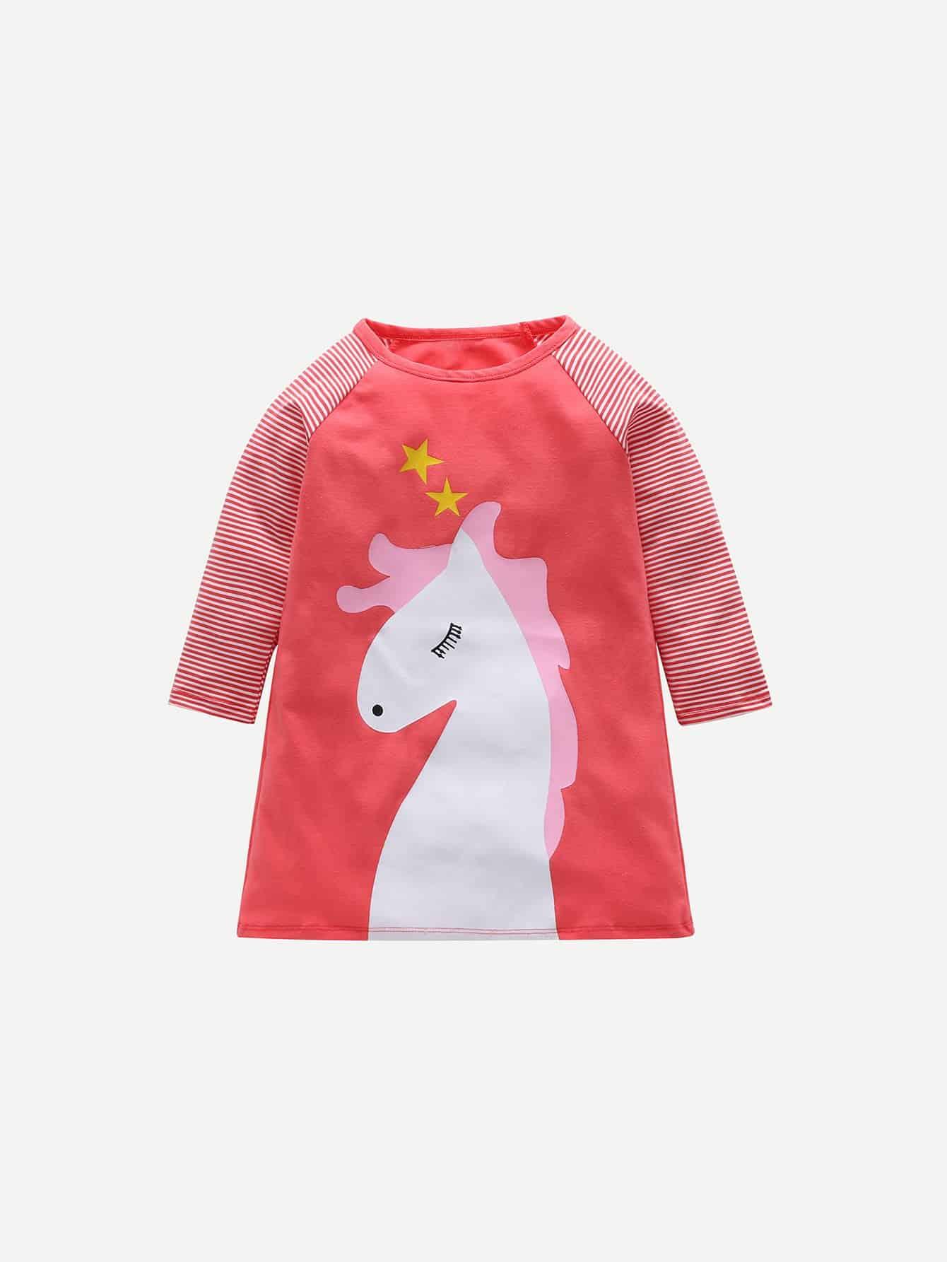 Купить Полосатая футболка с рисунками мультипликаций для девочки, null, SheIn