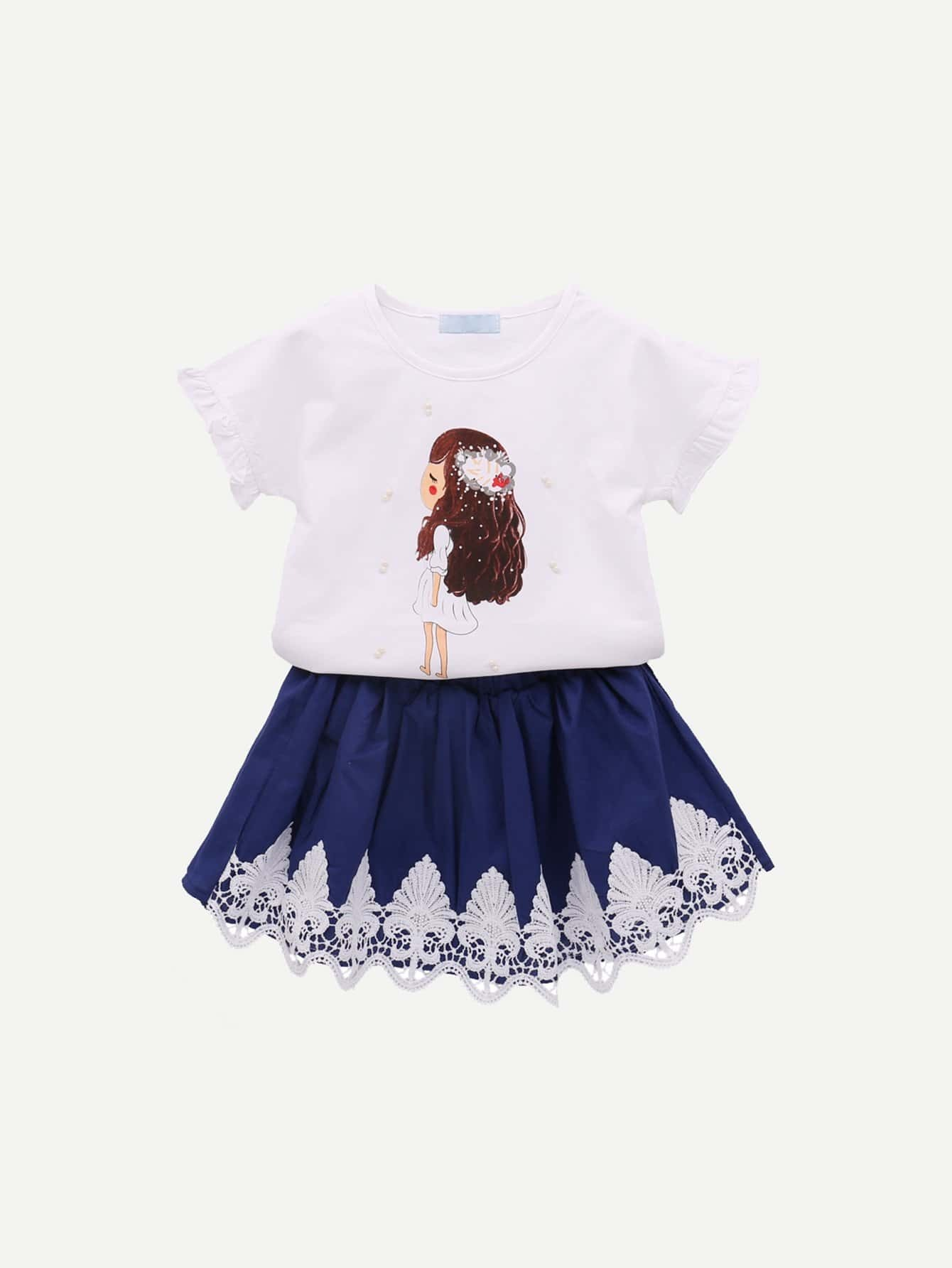 Girls Cartoon Print Tee With Lace Trim Skirt