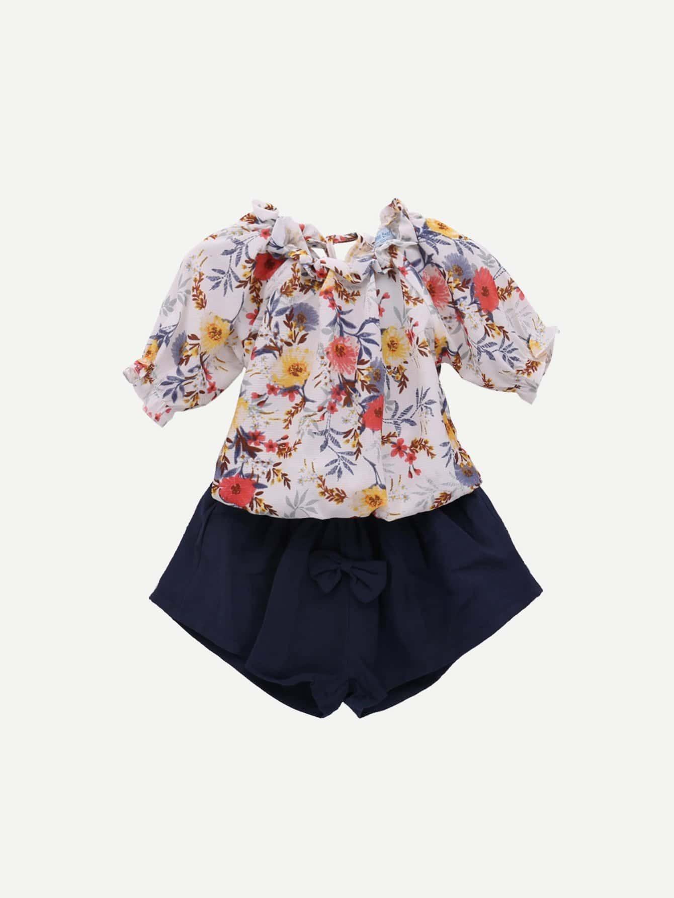 Girls Off Shoulder Floral Print Blouse With Shorts
