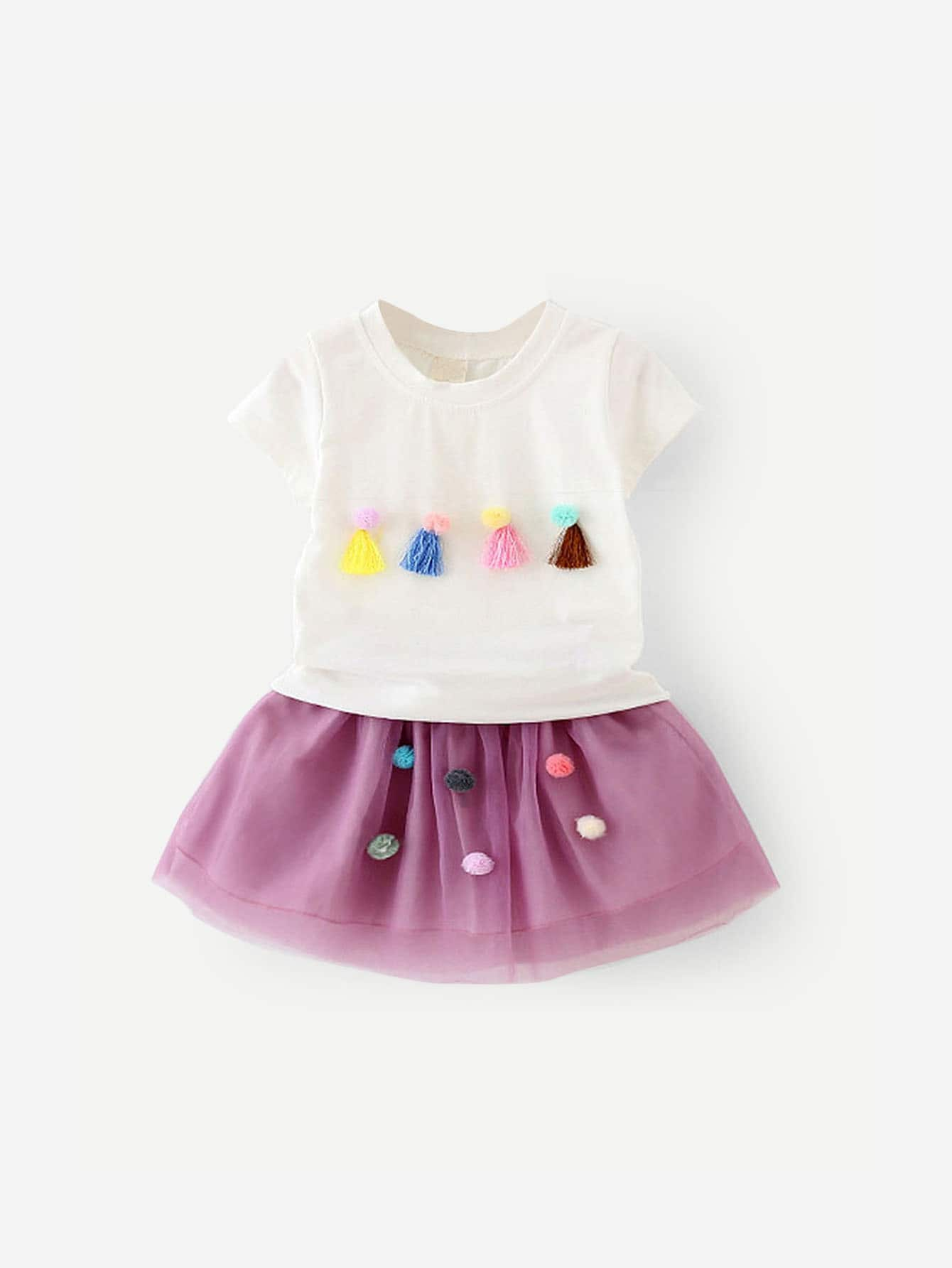 Girls Fringe & Pom Detail Tee With Skirt