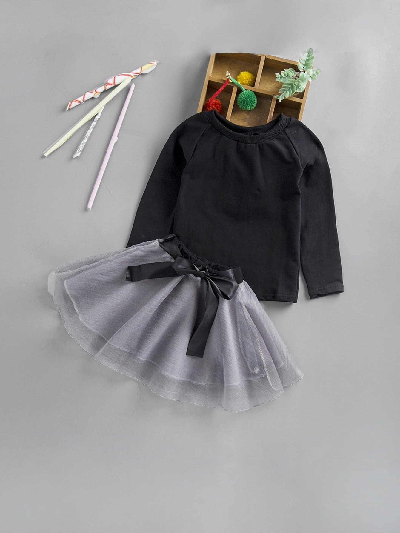Girls Solid Tee With Knot Front Mesh Skirt