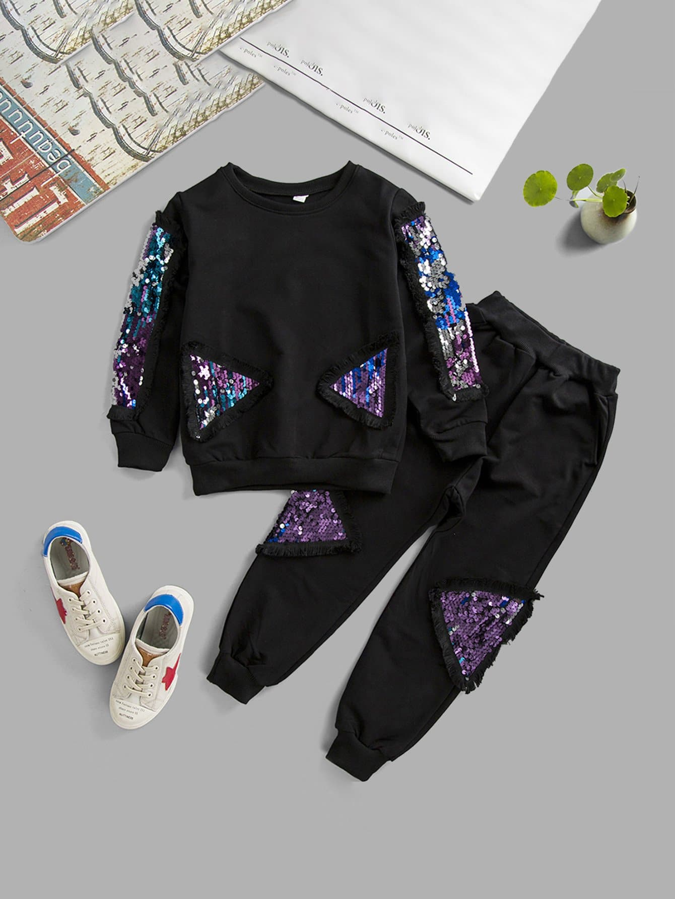 Boys Contrast Sequin Sweatshirt With Pants