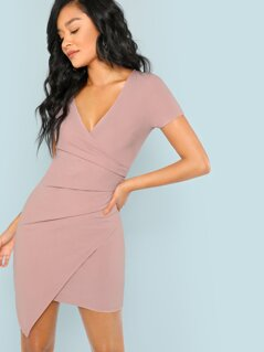 Ruched Wrap Asymmetry Hem Bodycon Dress