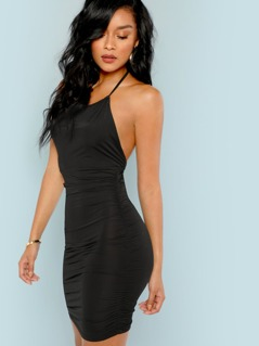 Backless Ruched Halter Mini Dress