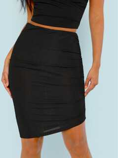 Ruched Asymmetric Skirt