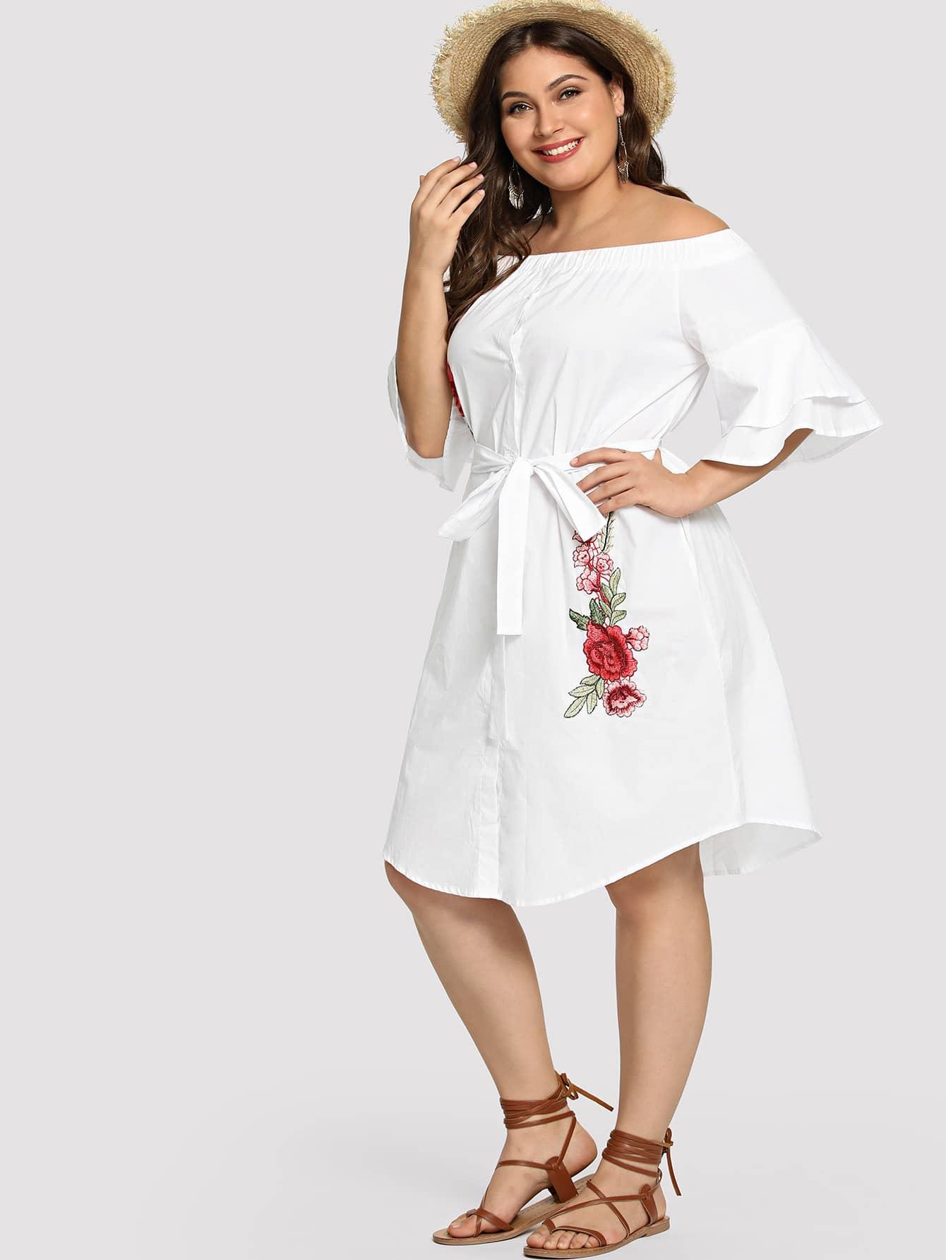 Купить Платье с вышивкой из цветной вышивки, Carol, SheIn