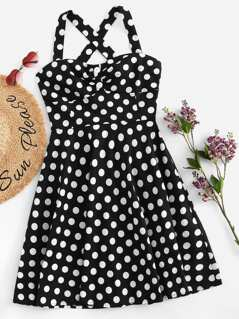 Button Front Criss Cross Polka Dot Dress