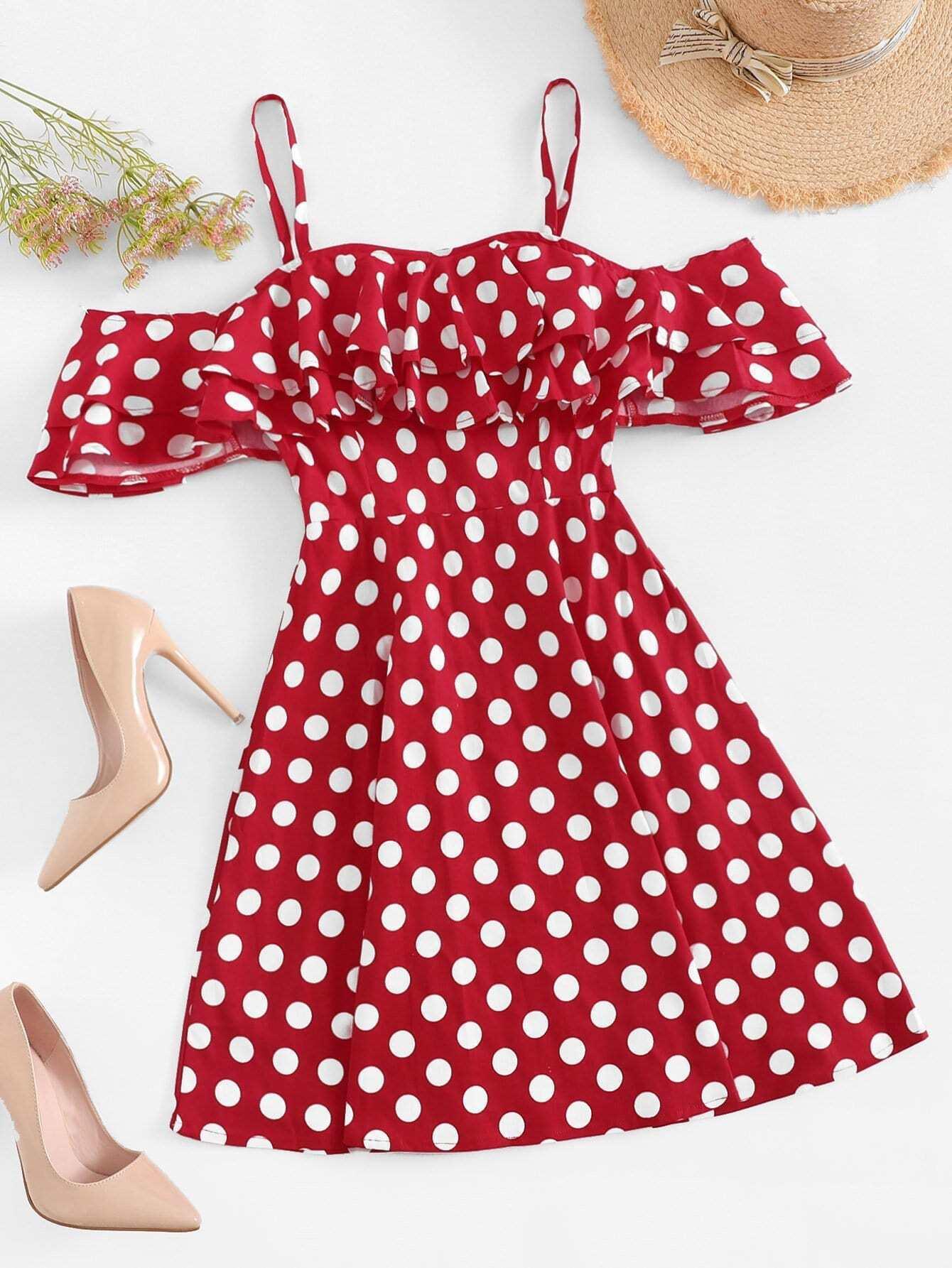 Layered Ruffle Polka Dot Cami Dress layered ruffle polka dot cami dress