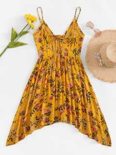 Lace Applique Calico Print Cami Dress