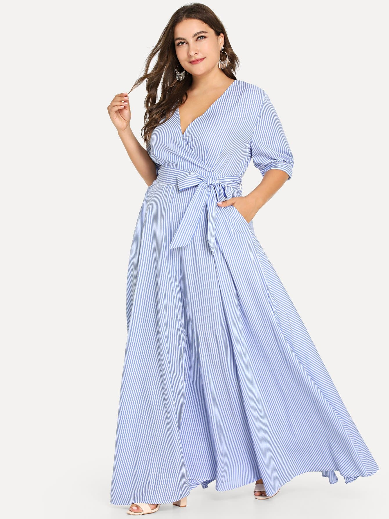 Купить Плюс размеры опоясанное полосатое платье с запахом, Franziska, SheIn