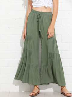 Drawstring Waist Tiered Wide Leg Pants