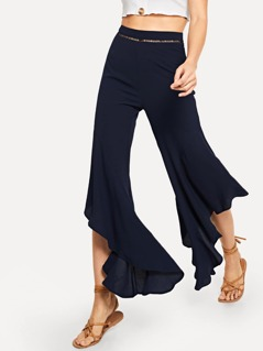 Ruffle Solid Flare Pants