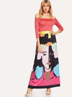 Solid Bardot Top & Graphic Print Skirt Set
