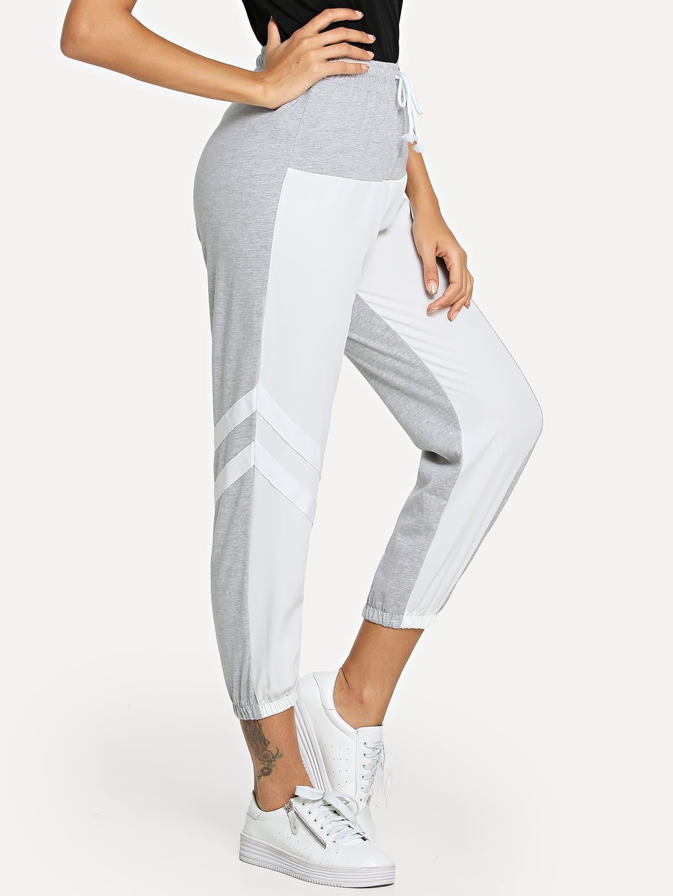 Купить Контрастные спортивные брюки с басоном эластичным, Giulia, SheIn
