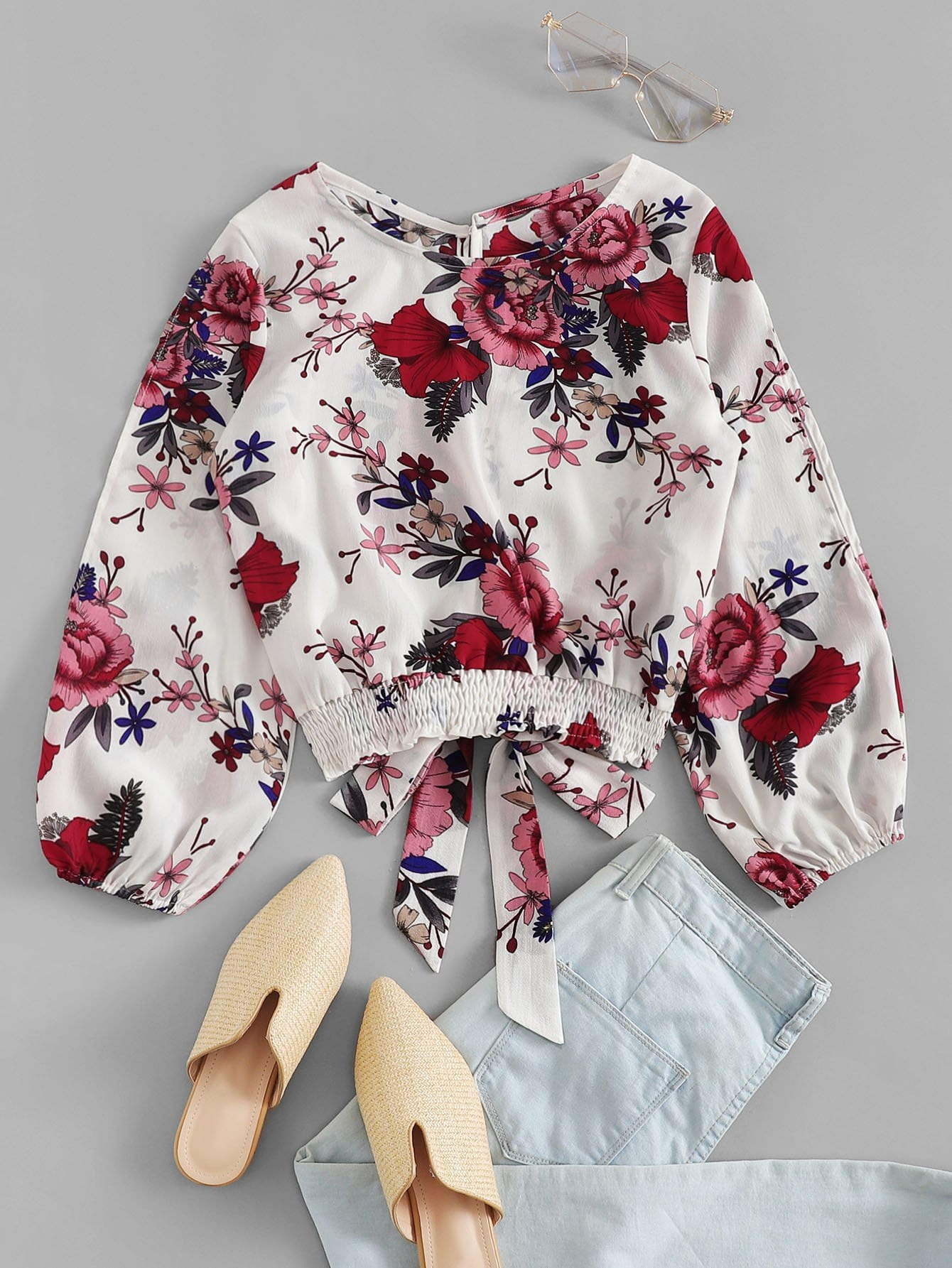 Bow Tie Front Floral Blouse