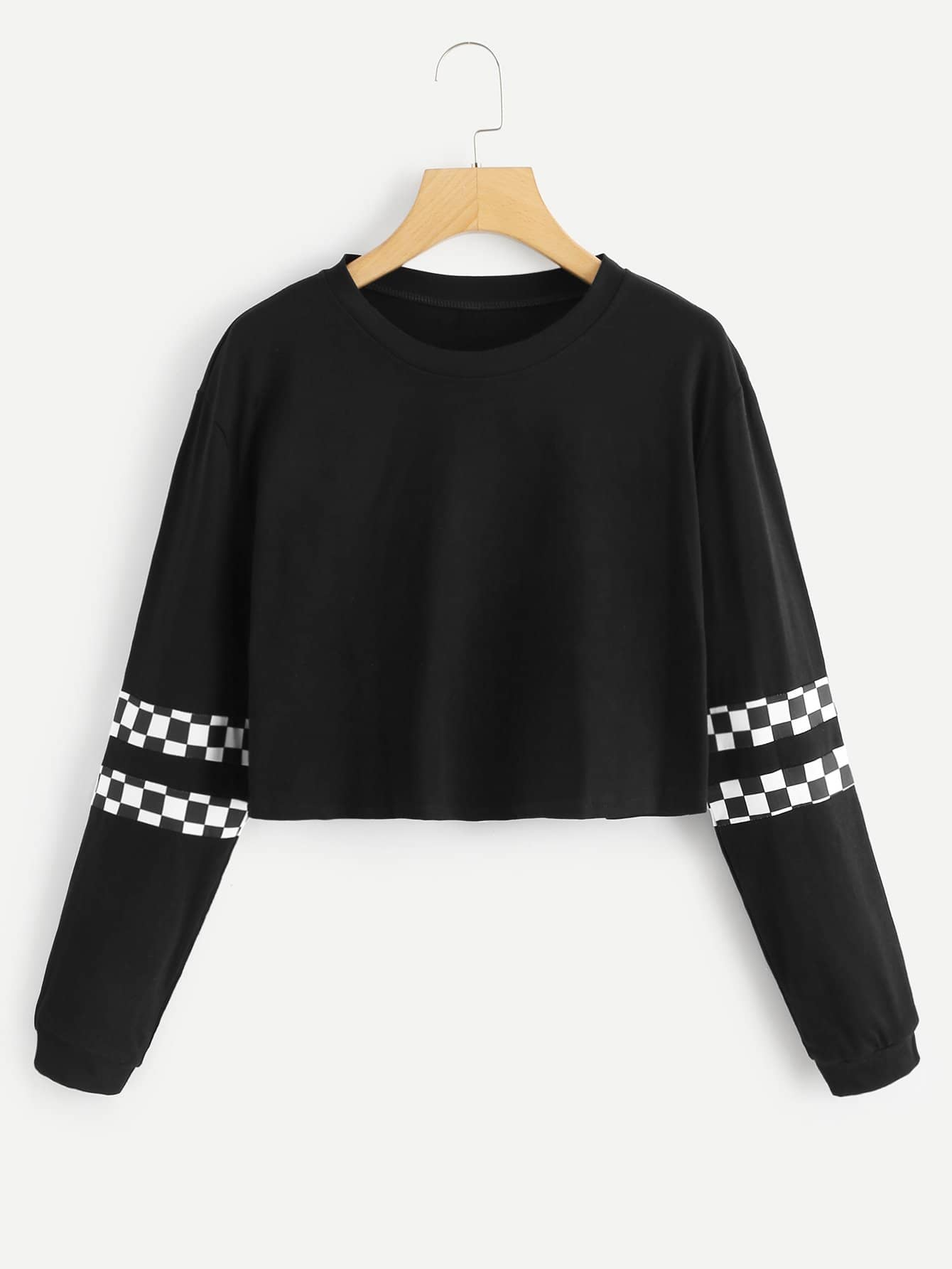Check Plaid Contrast Crop Sweatshirt