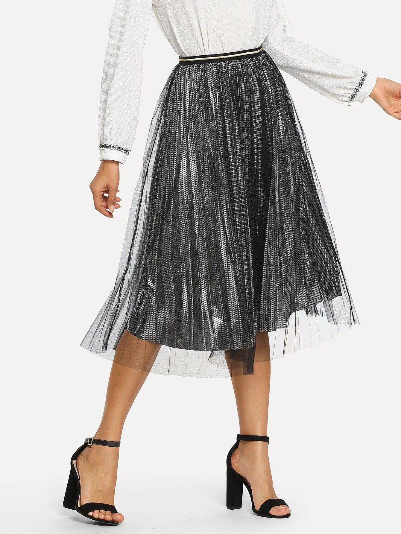 Купить Сетчатая симметрическая плиссированная юбка, Mary P., SheIn
