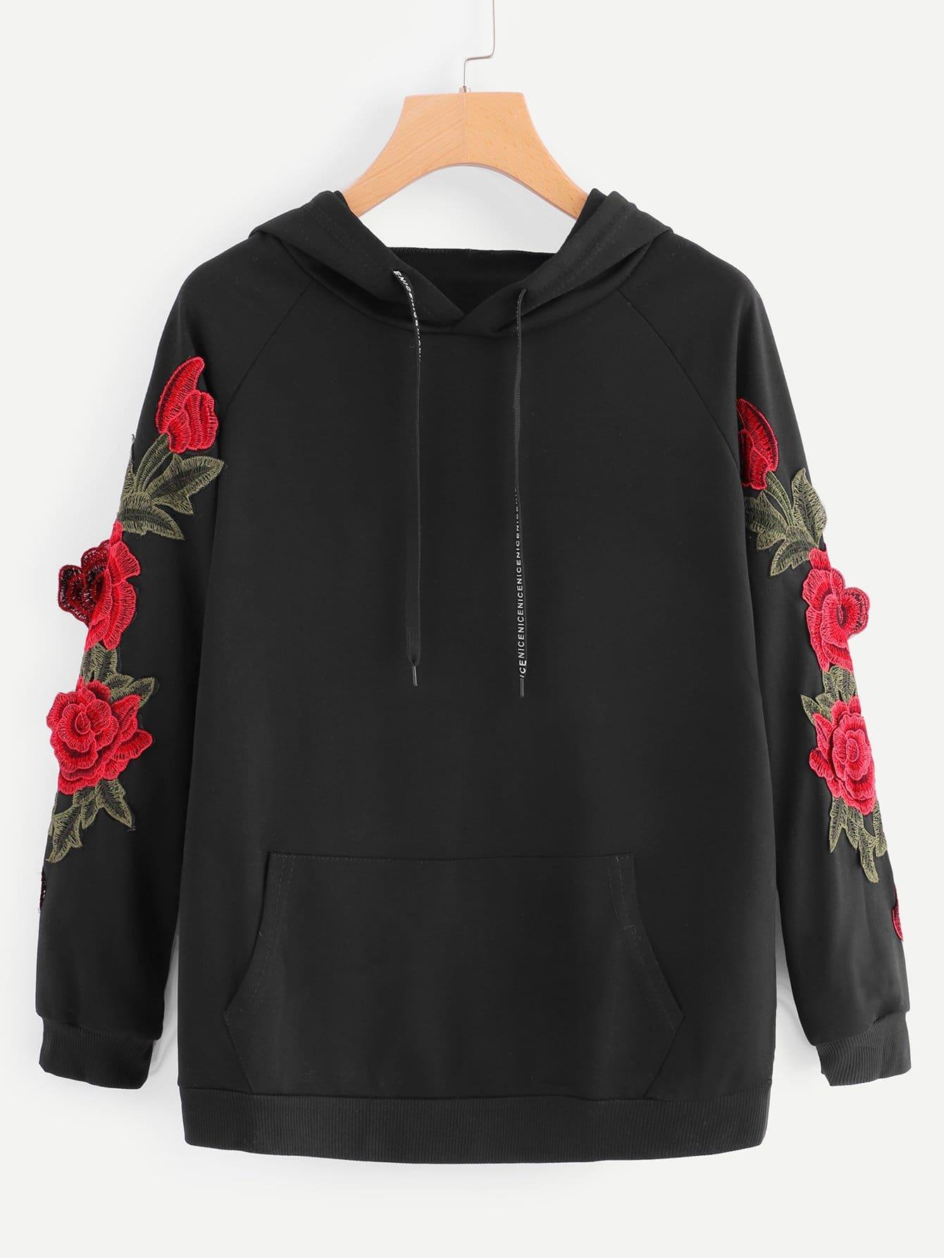 Sweatshirt mit Blumen Applikation und Känguru Tasche