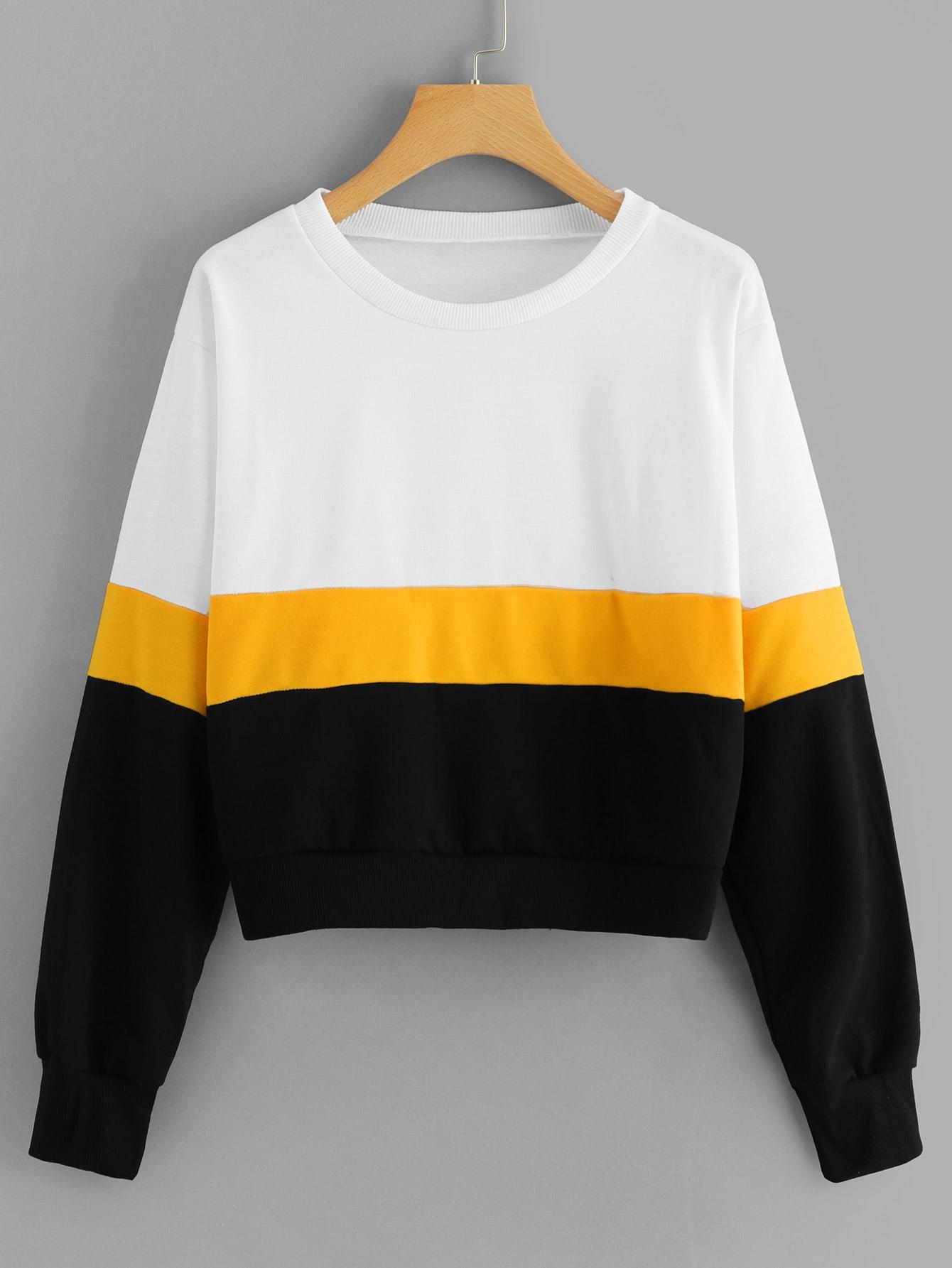 Block Stripe Crop Sweatshirt