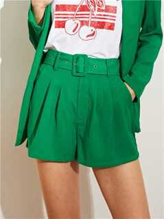 Slant Pocket Belted Solid Shorts