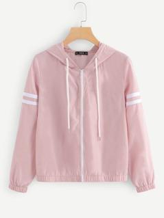 Zip Up Drawstring Hoodie Jacket
