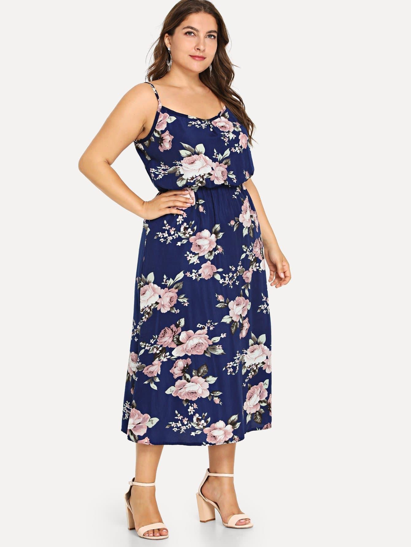 Купить Большое платье с рисунком пальмы и с открытыми плечами, Franziska, SheIn