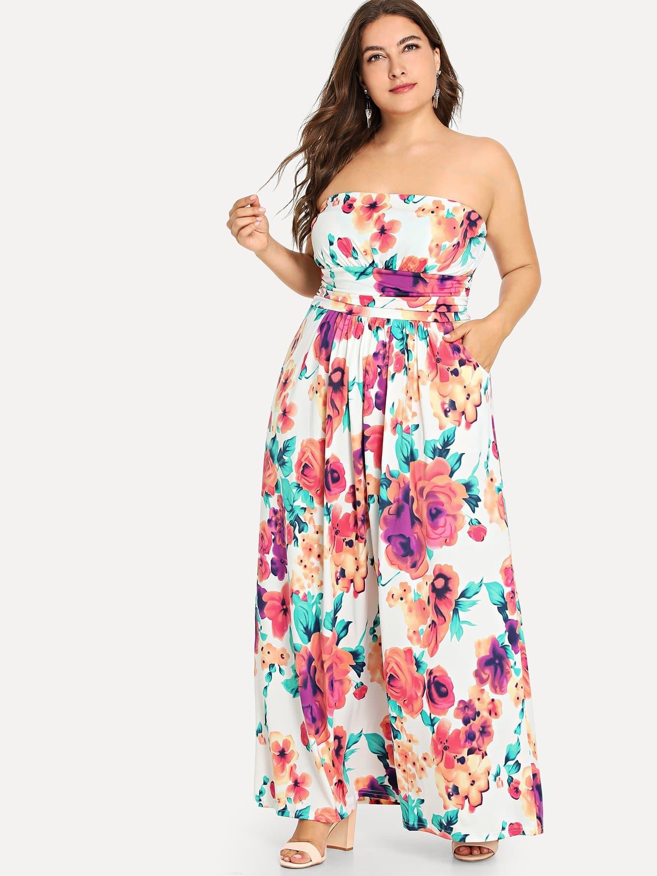 Купить Большое ситцевое платье без бретелек, Franziska, SheIn