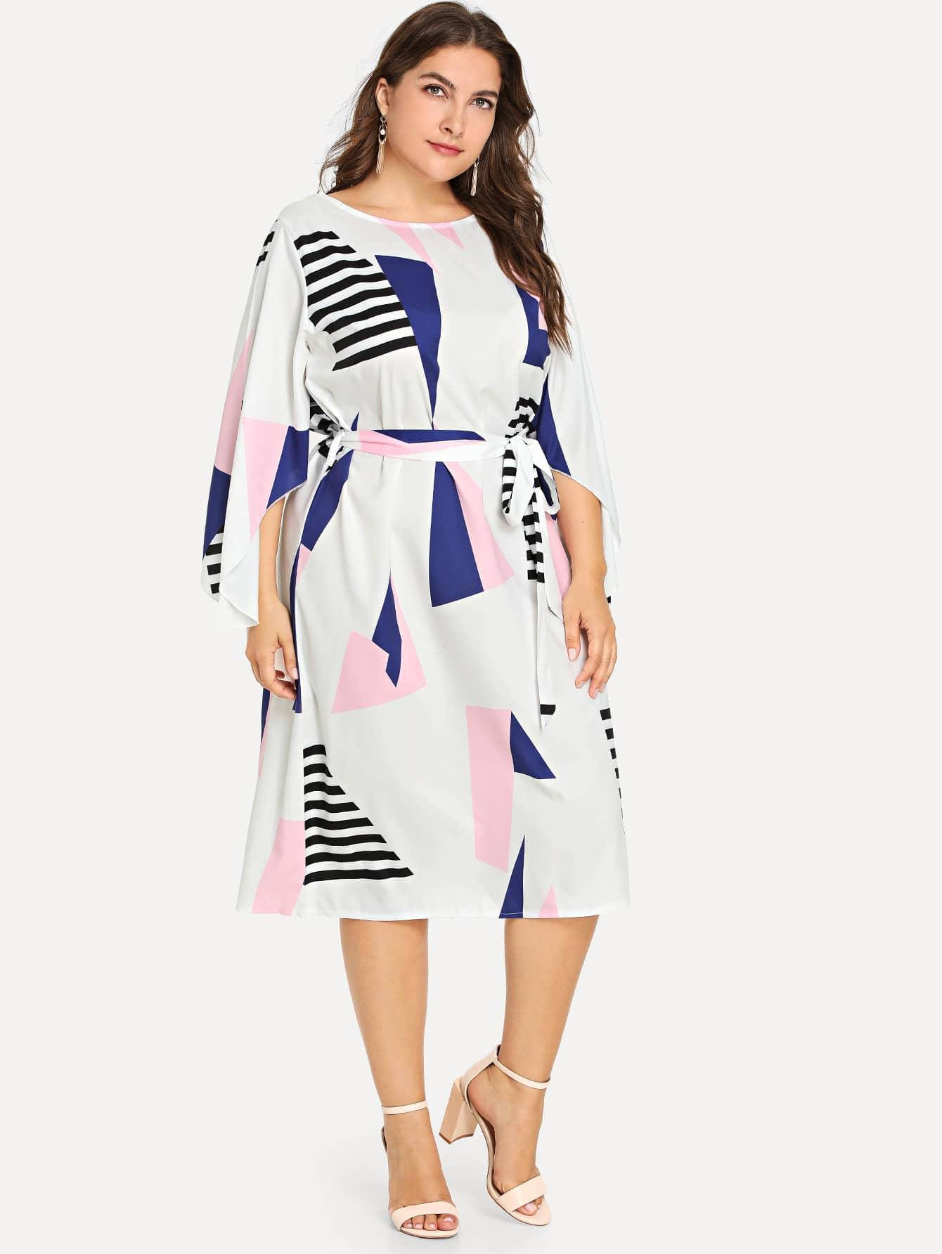 Купить Большое платье с рисунками геометрических фигур, Franziska, SheIn