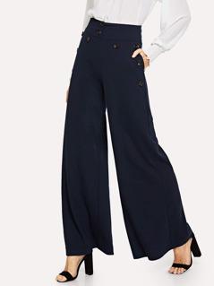 Button Detail Slant Pocket Wide Leg Pants