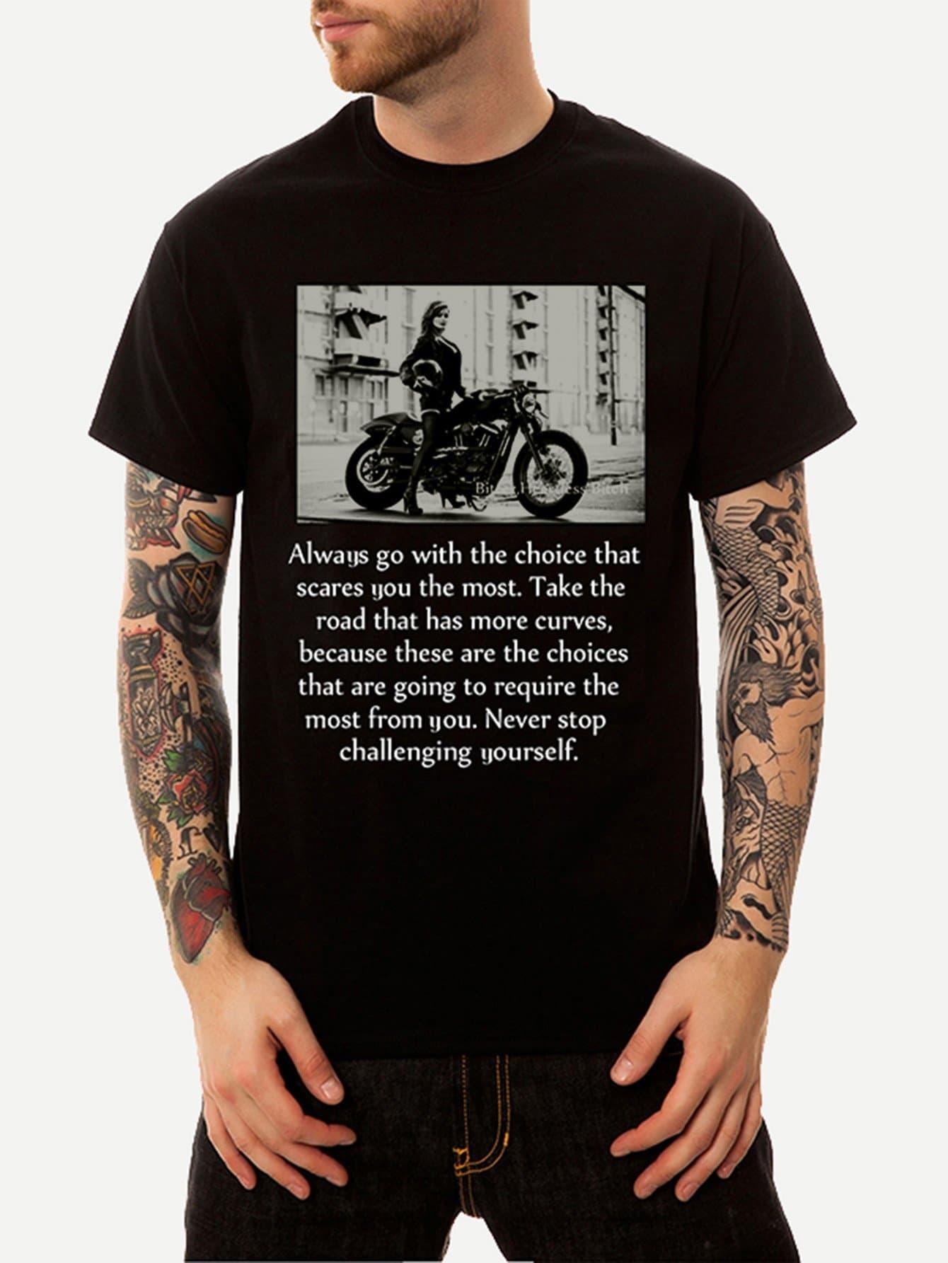 Männer T-Shirt mit Buchstaben und Abbildungmuster