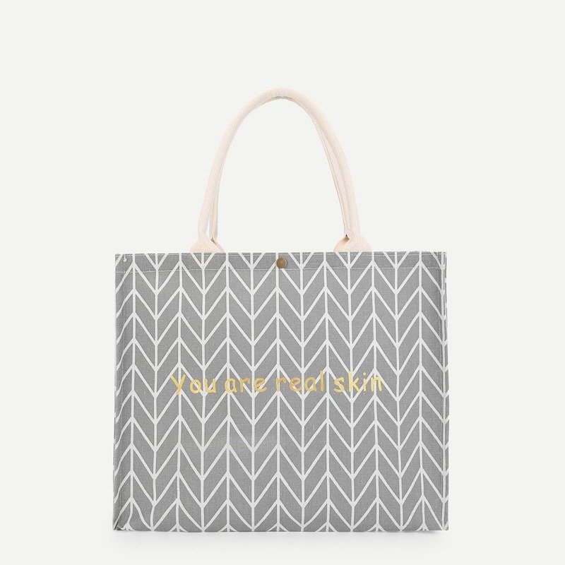 Letter And Geometric Pattern Tote Bag, Grey