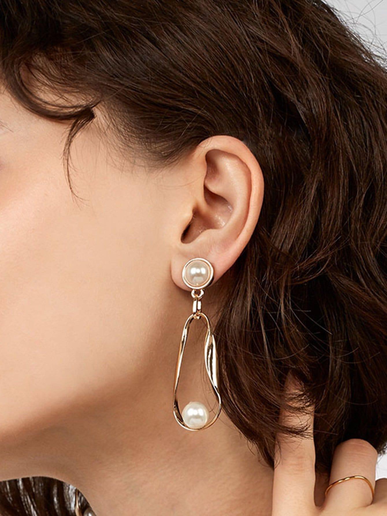 Faux Pearl Detail Irregular Drop Earrings