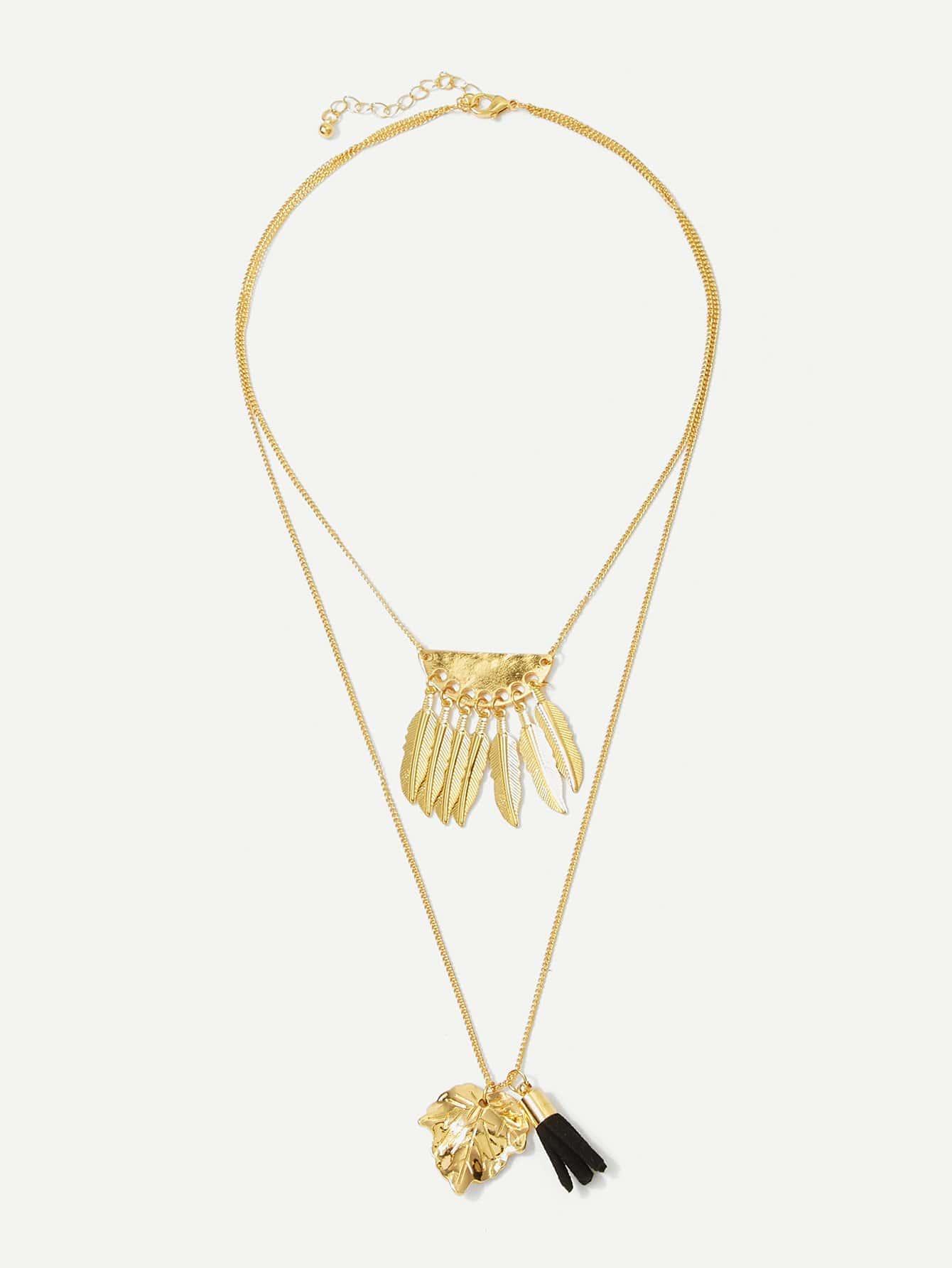 Feder & Blatt Anhänger geschichtete Halskette