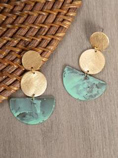 Dangle Circle And Half Moon Earrings