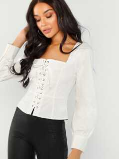 Grommet Lace-Up Square Neck Top