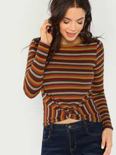 Striped Rib Knit Twist Front Top