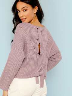Knitted Criss Cross Back Detail Sweater