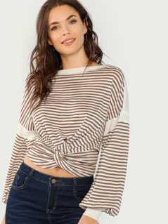 Jersey Striped Twist Front Top