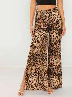 Leopard Split Wide Leg Pant