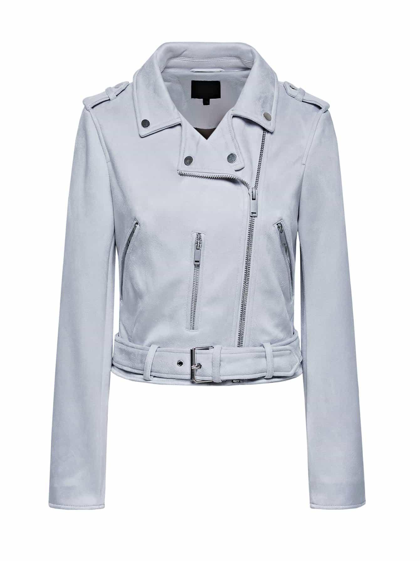 Купить Повседневный Одноцветный на молнии Байкер Серый Жакеты + Куртки, null, SheIn