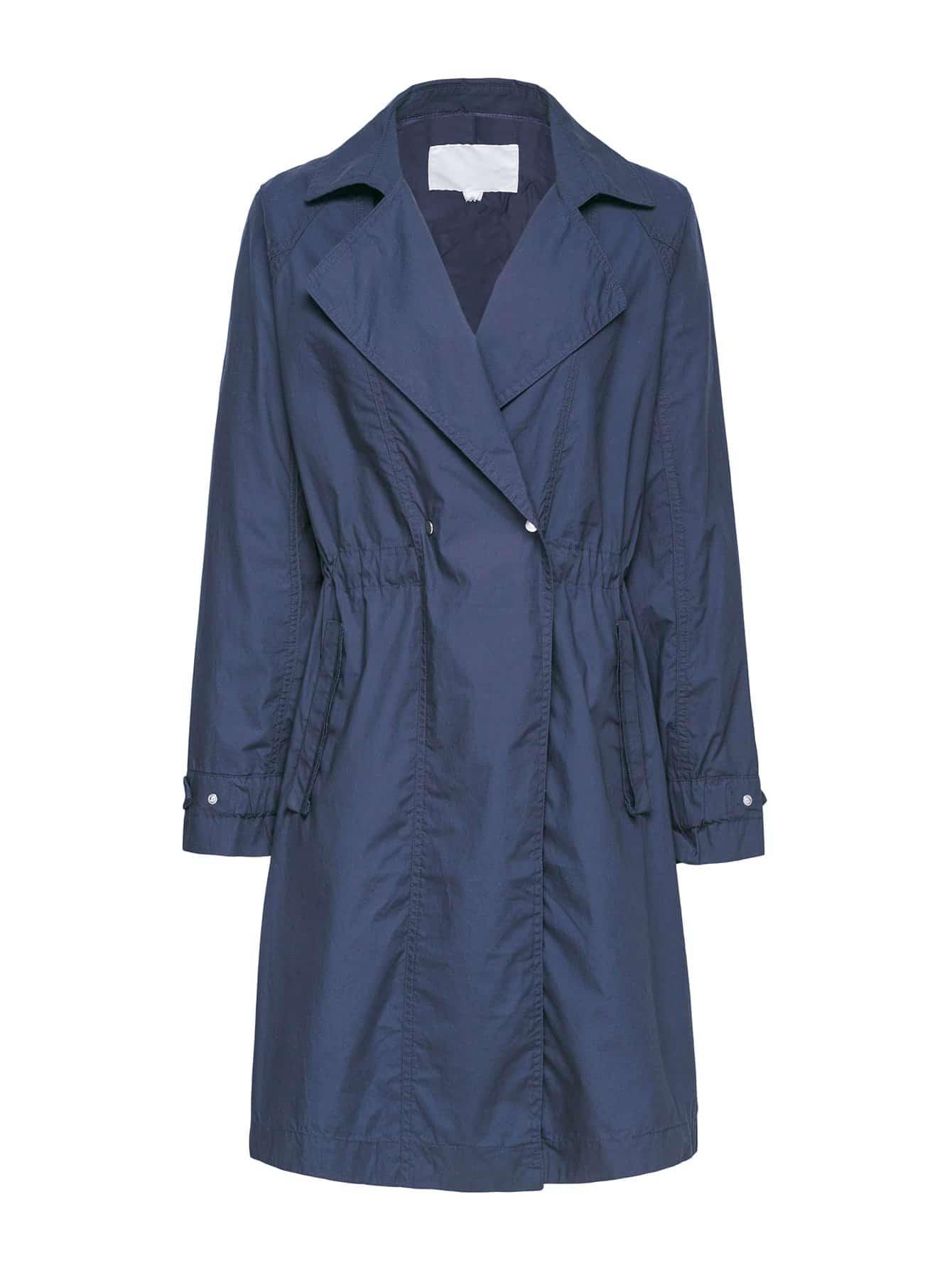 Повседневный стиль Одноцветный на пуговицах Тренч Пальто Темно синий Пальто SheIn