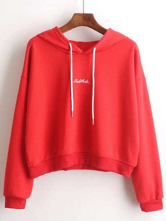 Купить Повседневный Текст на кулиске Пуловеры Красный Свитшоты, null, SheIn