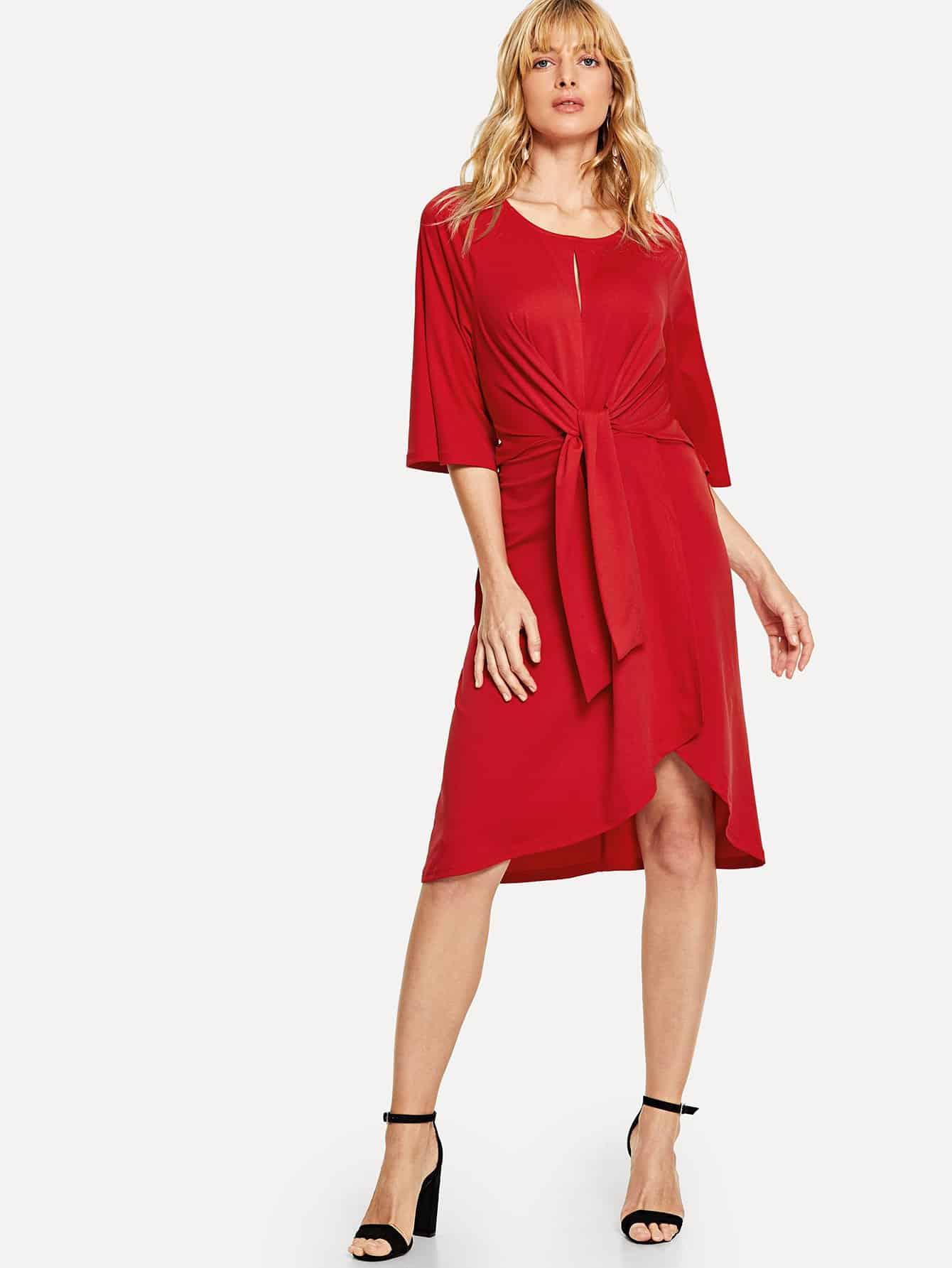 Купить Платье с асимметричным низом и спереди узел, Masha, SheIn