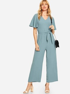 Flutter Sleeve Self Belted Palazzo Jumpsuit